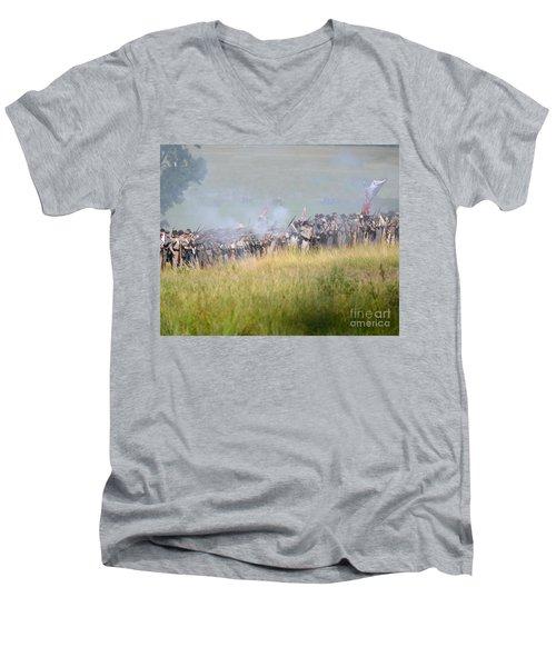 Gettysburg Confederate Infantry 7503c Men's V-Neck T-Shirt