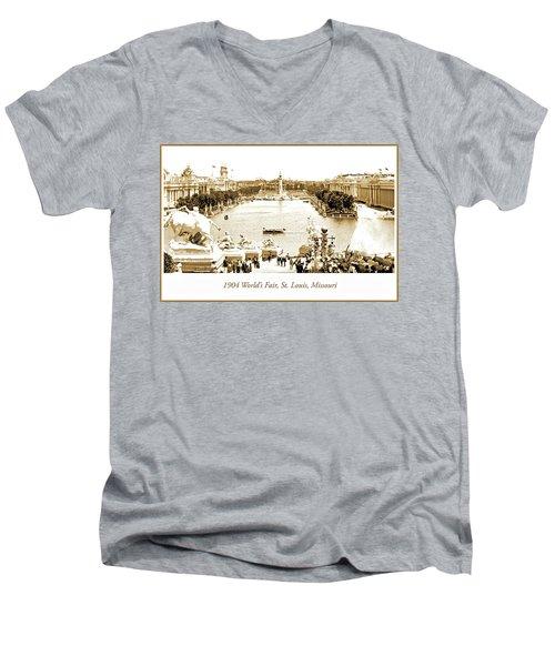 1904 World's Fair, Grand Basin View From Festival Hall Men's V-Neck T-Shirt