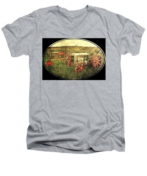 Men's V-Neck T-Shirt featuring the photograph Vintage 1923 Fordson Tractors by Mark Allen