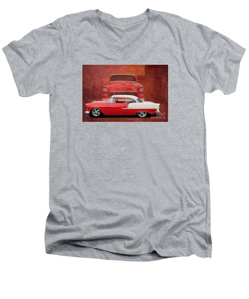 55 Chev Beauty Men's V-Neck T-Shirt by Jim  Hatch