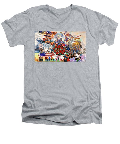 9/11 Memorial Men's V-Neck T-Shirt by Bonnie Siracusa