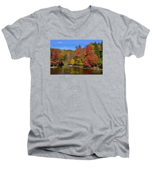 A Little Piece Of Adirondack Heaven Men's V-Neck T-Shirt by Diane E Berry