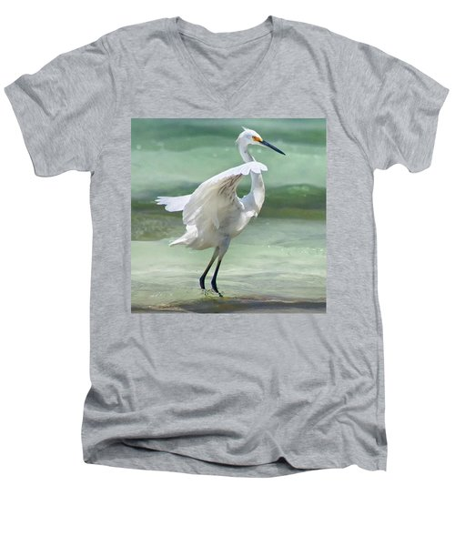 A Snowy Egret (egretta Thula) At Mahoe Men's V-Neck T-Shirt