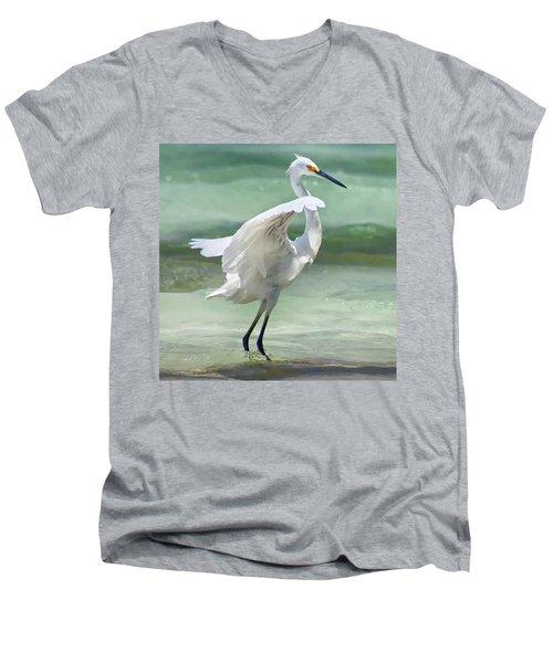 A Snowy Egret (egretta Thula) At Mahoe Men's V-Neck T-Shirt by John Edwards