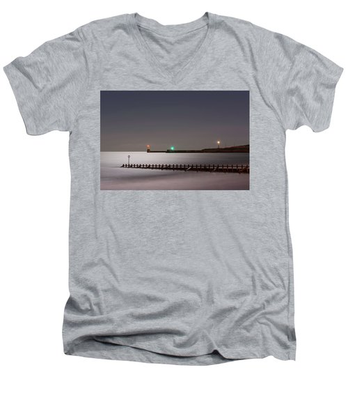 Aberdeen Beach At Night Men's V-Neck T-Shirt