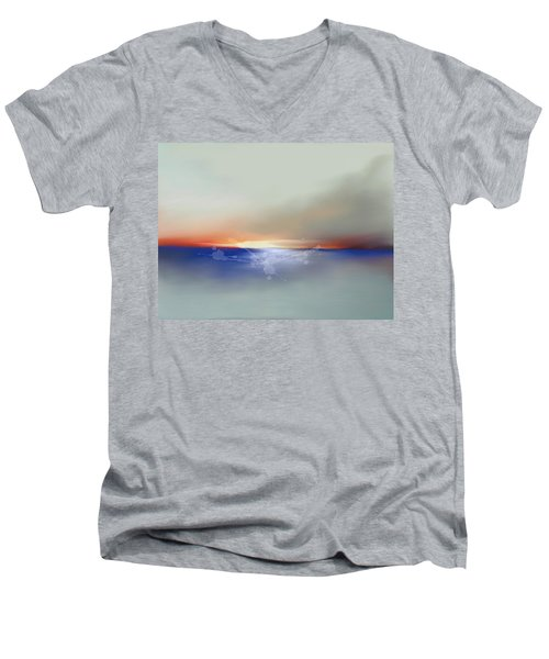 Abstract Beach Sunrise  Men's V-Neck T-Shirt by Anthony Fishburne