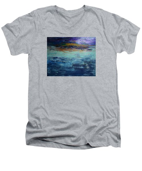 Abstract Blue Men's V-Neck T-Shirt