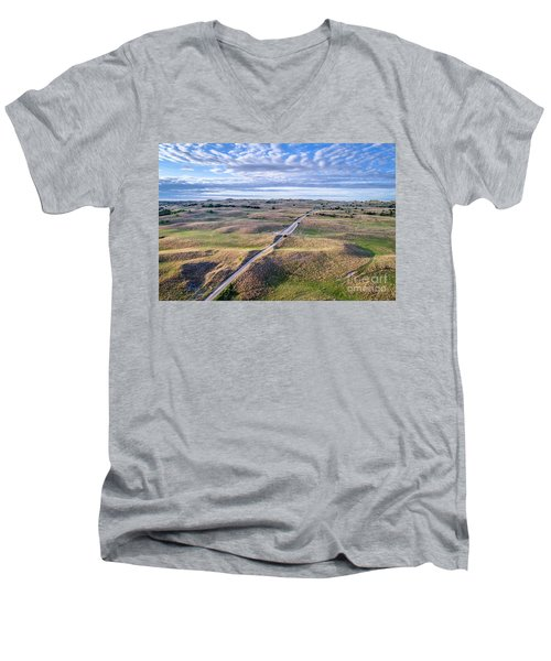 aerial view of Nebraska Sandhills  Men's V-Neck T-Shirt