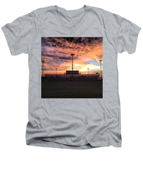 Alma High School Don Miller Field Sunrise Bleachers Men's V-Neck T-Shirt