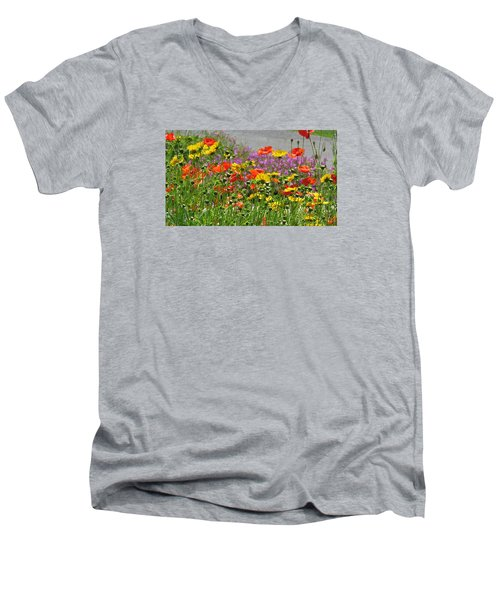 Men's V-Neck T-Shirt featuring the photograph Along The Road by Jeanette Oberholtzer