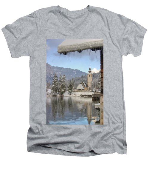 Men's V-Neck T-Shirt featuring the photograph Alpine Winter Clarity by Ian Middleton