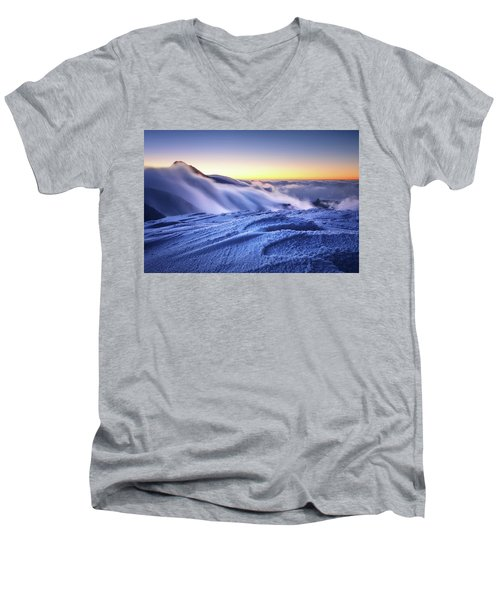 Amazing Foggy Sunset At Mountain Peak In Mala Fatra, Slovakia Men's V-Neck T-Shirt