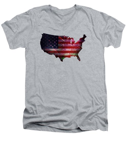 American Flag With Fireworks Display Men's V-Neck T-Shirt