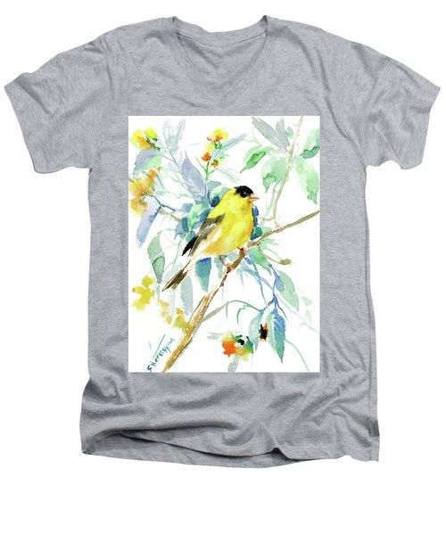 American Goldfinch Men's V-Neck T-Shirt by Suren Nersisyan