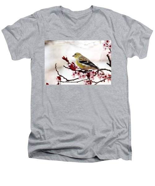 American Goldfinch In Spring Men's V-Neck T-Shirt by Trina Ansel
