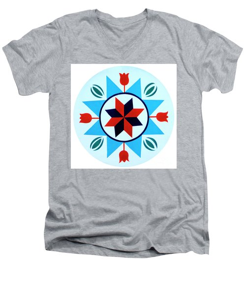 Men's V-Neck T-Shirt featuring the photograph Amish Hex Design by Paul W Faust - Impressions of Light