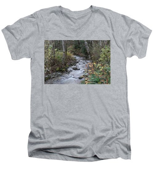 Men's V-Neck T-Shirt featuring the photograph An Autumn Stream by Jeff Swan