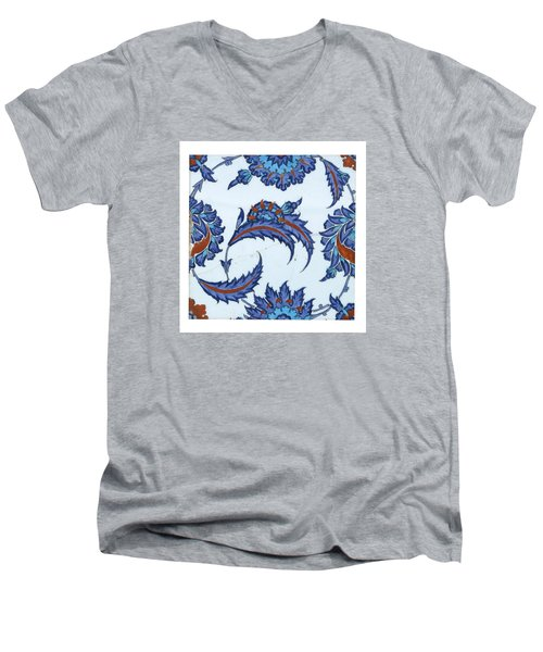 An Iznik Polychrome Pottery Tile Men's V-Neck T-Shirt