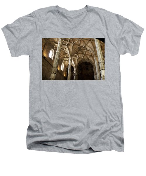 Men's V-Neck T-Shirt featuring the photograph Lisbon Cathedral's Ancient Arches  by Lorraine Devon Wilke