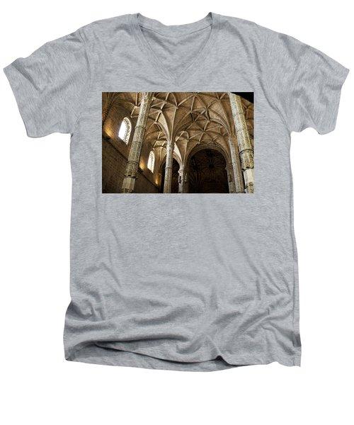 Lisbon Cathedral's Ancient Arches  Men's V-Neck T-Shirt