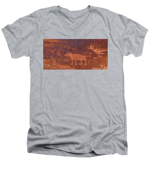 Ancient Native American Petroglyphs On A Canyon Wall Near Moab. Men's V-Neck T-Shirt