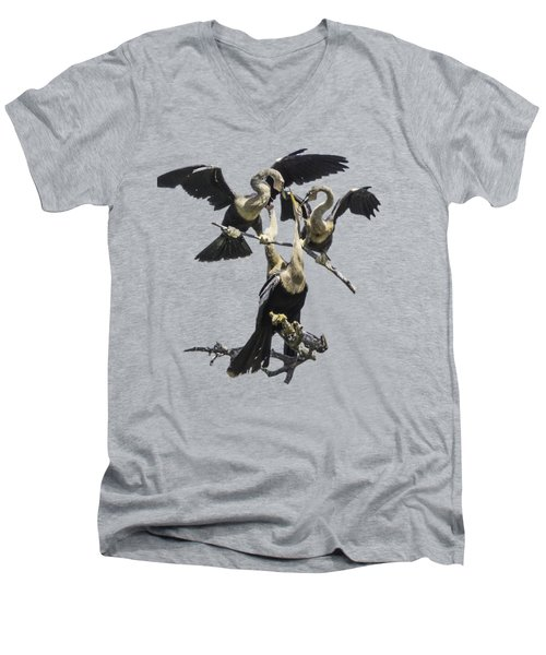 Anhinga Feeding Time Transparency Men's V-Neck T-Shirt by Richard Goldman