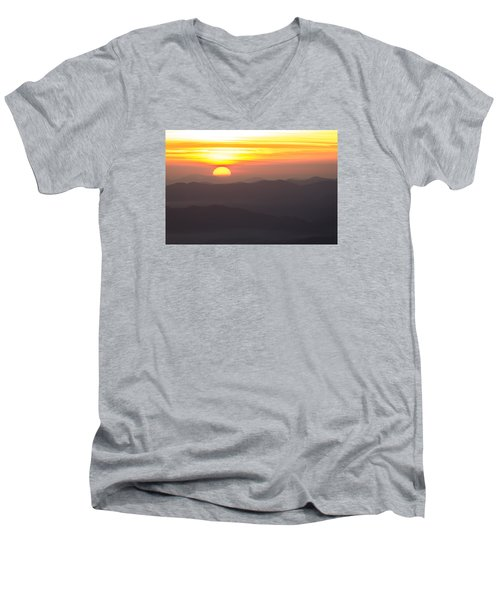 Appalachian Sunrise Men's V-Neck T-Shirt by Serge Skiba