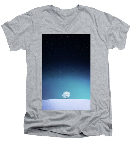 Apple Men's V-Neck T-Shirt by Bess Hamiti