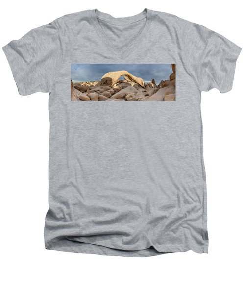 Arch Rock Panorama In Joshua Tree Men's V-Neck T-Shirt