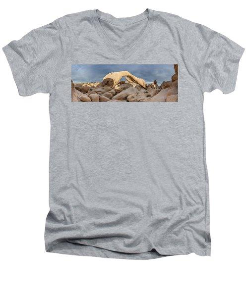 Arch Rock Panorama In Joshua Tree Men's V-Neck T-Shirt