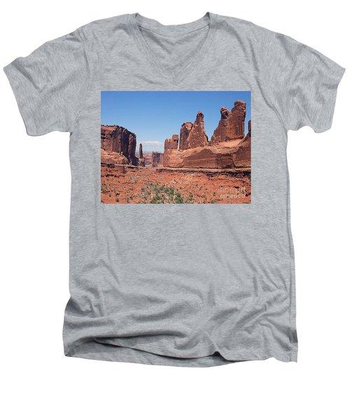 Arches National Park Panorama Men's V-Neck T-Shirt by Merton Allen