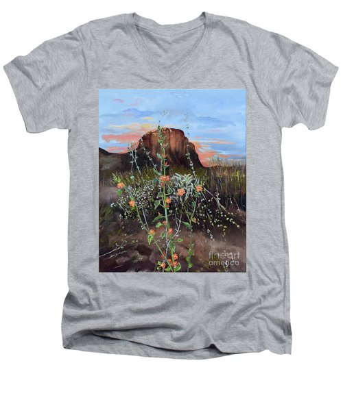 Arizona Desert Flowers-dwarf Indian Mallow Men's V-Neck T-Shirt