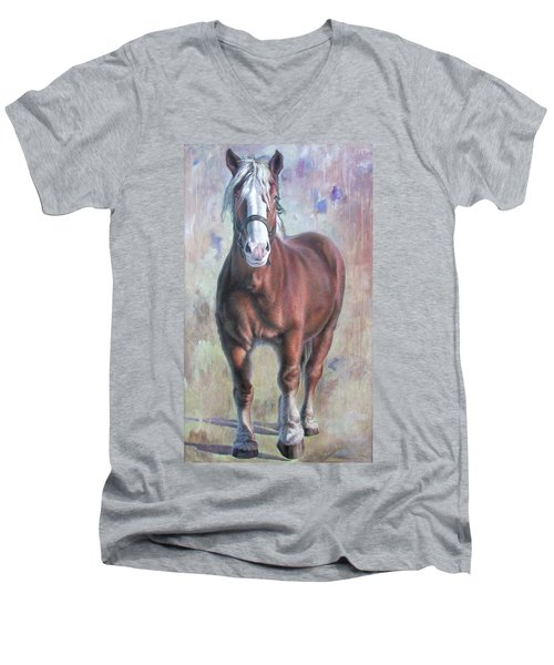 Arthur The Belgian Horse Men's V-Neck T-Shirt