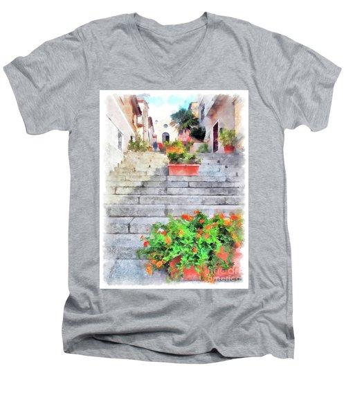 Arzachena Staircase And Church Of The Santa Lucia Men's V-Neck T-Shirt