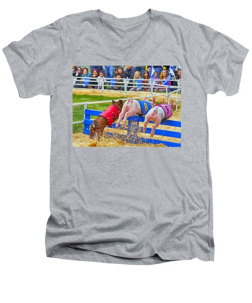 Men's V-Neck T-Shirt featuring the photograph At The Pig Races by AJ Schibig