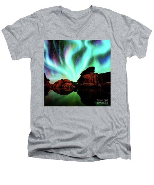 Aurora Over Lagoon Men's V-Neck T-Shirt by Atiketta Sangasaeng