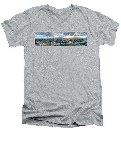 Austin Cityscape Men's V-Neck T-Shirt by Andrew Nourse