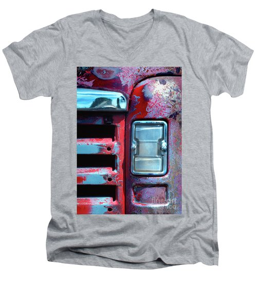 automobiles salvage art photograph - Once Red Truck Men's V-Neck T-Shirt