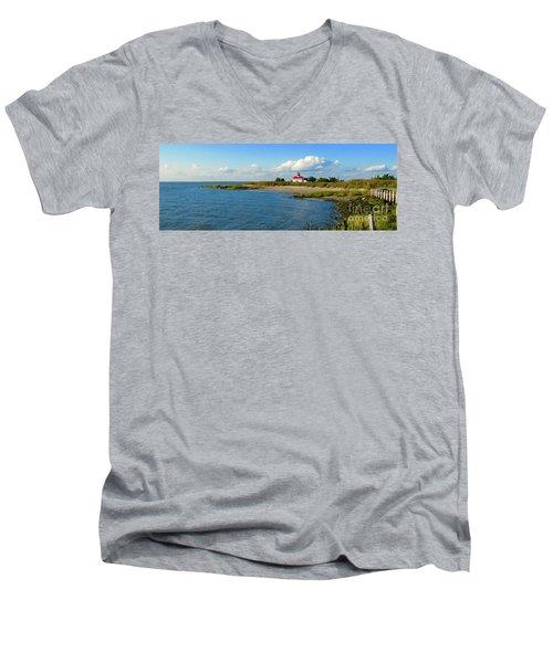 Autumn At East Point Lighthouse Men's V-Neck T-Shirt