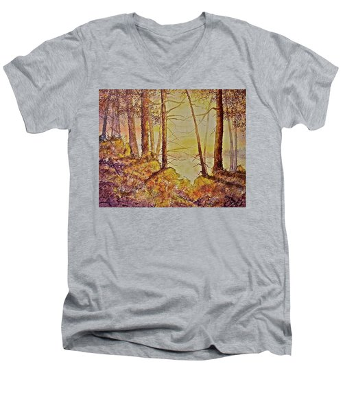 Men's V-Neck T-Shirt featuring the painting Autumn Glow by Carolyn Rosenberger