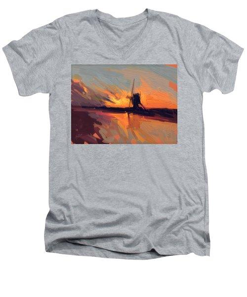Autumn Indian Summer Windmill Holland Men's V-Neck T-Shirt by Nop Briex