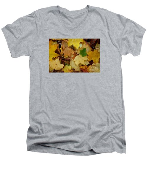 Men's V-Neck T-Shirt featuring the photograph Autumn Leaves  by Gary Bridger