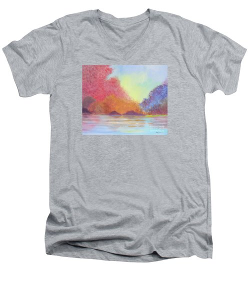 Men's V-Neck T-Shirt featuring the painting Autumn's Aura by Stacey Zimmerman