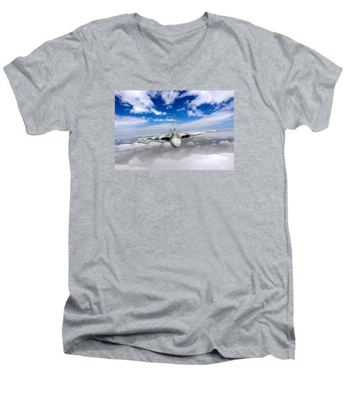 Avro Vulcan Head On Above Clouds Men's V-Neck T-Shirt by Gary Eason