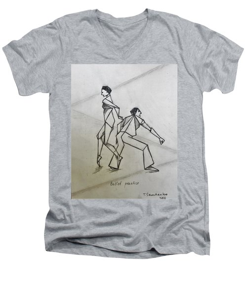 Ballet Practice Men's V-Neck T-Shirt by Tamara Savchenko