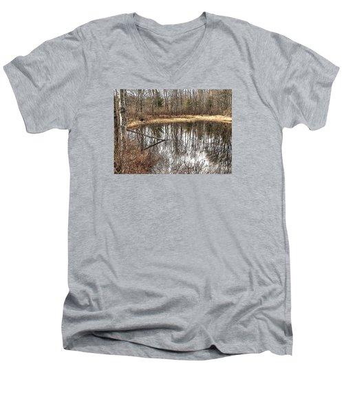 Bare Bones Men's V-Neck T-Shirt by Betsy Zimmerli