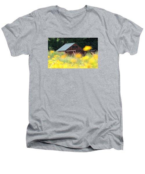 Barn Stony Brook New York Men's V-Neck T-Shirt by Bob Savage