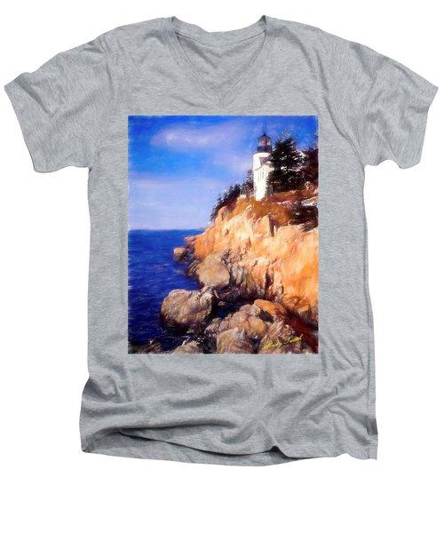 Bass Harbor Lighthouse,acadia Nat. Park Maine. Men's V-Neck T-Shirt