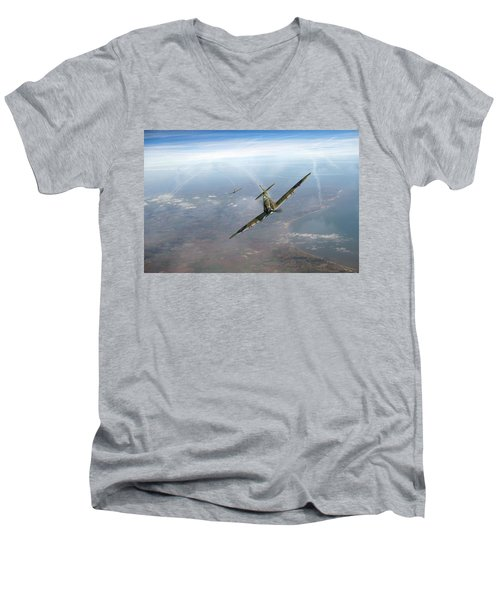 Battle Of Britain Spitfires Over Kent Men's V-Neck T-Shirt by Gary Eason