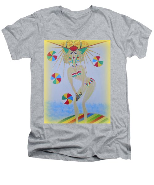 Men's V-Neck T-Shirt featuring the painting Beach Ball Surfer by Marie Schwarzer